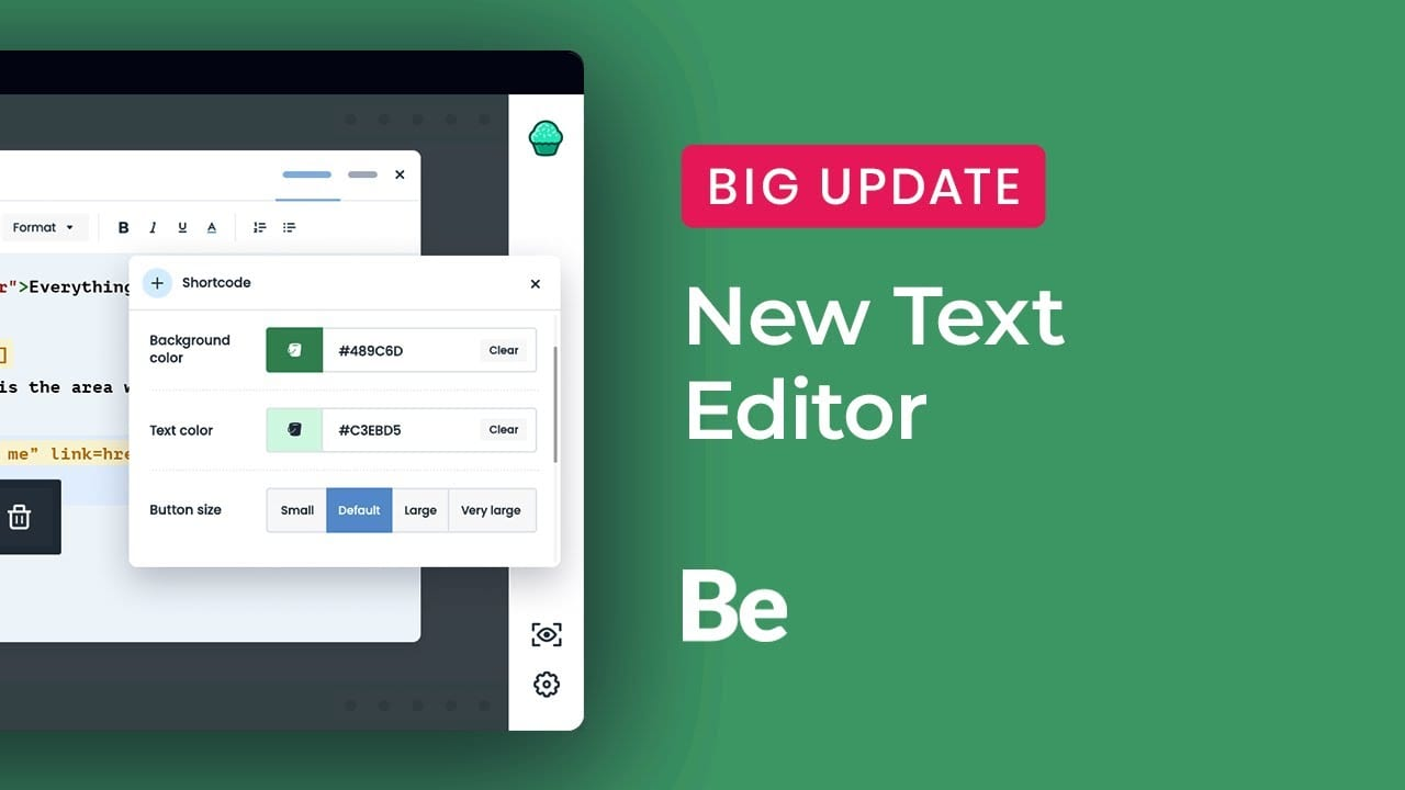 New Text Editor with Shortcode Manager