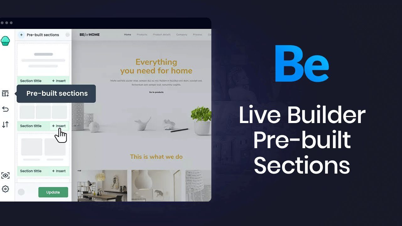 How to use pre-built sections in Muffin Live Builder?